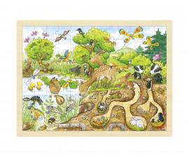 детска играчка дървен пъзел Изследвай природата Goki
