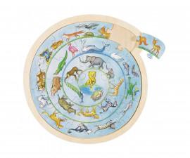 детски дървен пъзел Животински кръг Goki