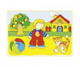 детска играчка дървен пъзел с дръжки Игра навън Goki