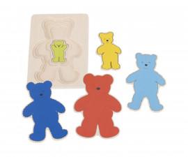 детска играчка многослоен дървен пъзел Мечки Goki