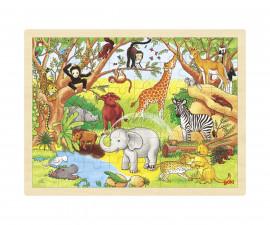 детска играчка дървен пъзел Африка Goki