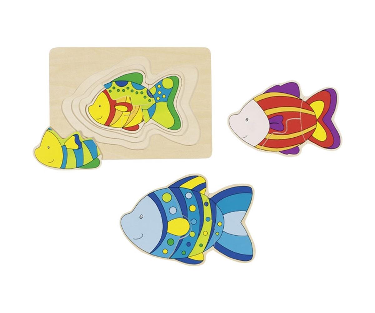 детска играчка многослоен дървен пъзел Цветна Рибка Goki