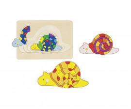 детска играчка многослоен дървен пъзел Цветно Охлювче Goki