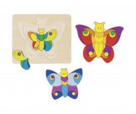 детска играчка многослоен дървен пъзел Цветна Пеперуда Goki
