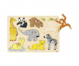 детска играчка дървен пъзел с дръжки Бебета животни в Африка Goki