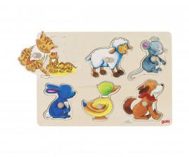 детска играчка дървен пъзел с дръжки Животните и техните малки Goki
