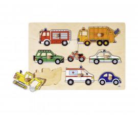 детска играчка дървен пъзел с дръжки Превозни средства Goki