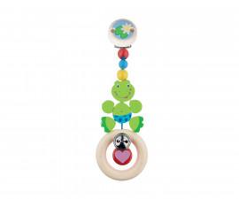 дървена бебешка дрънкалка-клипс Жаба Goki
