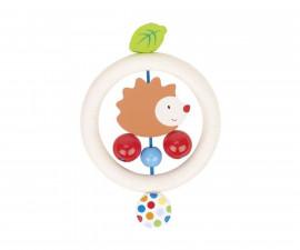 дървена бебешка дрънкалка Таралеж с перли Goki