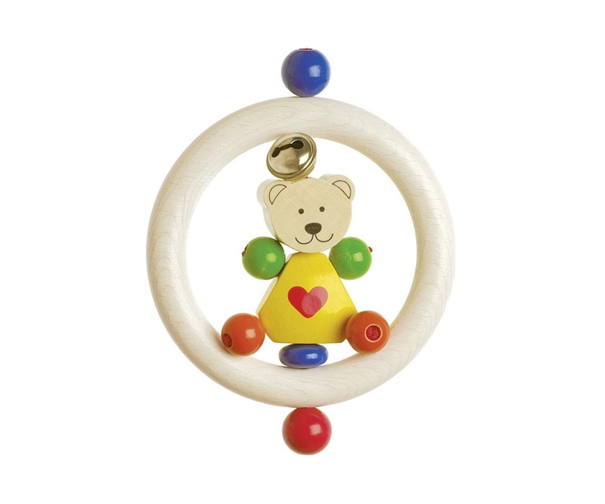 детска играчка дървена дрънкалка Мече Goki