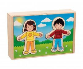 детски дървен пъзел Момче и момиче за обличане в дървена кутия Goki