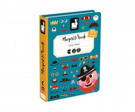 детска магнитна книга Janod - Смешни лица на момчета