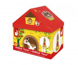 детски кубчета за подреждане Janod - Ферма