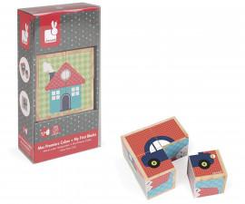 моите първи детски кубчета Janod - Първи думи