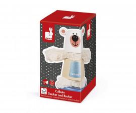 детска дървена играчка Низанка Janod - Клатушкаща се мечка