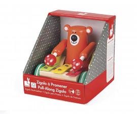 детска дървена играчка за дърпане Janod - Мечка с ксилофон Zigolos