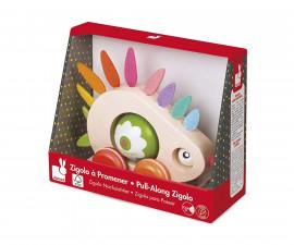 детска дървена играчка за дърпане Janod - Таралеж